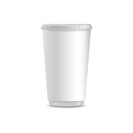 Blank white coffee cup realistic mockup, isolated realistic template of plain hot beverage paper container closed with plastic lid - vector illustration on white background Illustration