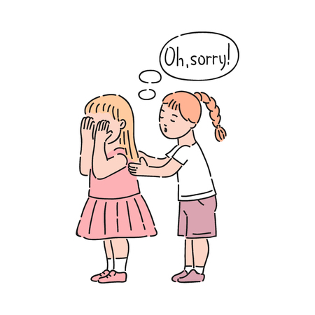 Vector well-behaved girl saying sorry calming down crying girl. Good manners, politeness of female kid. Decenity and urbanity of children concept.