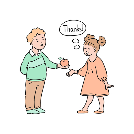 Vector well-behaved girl says thank you to boy offering apple to her. Good manners, politeness of female kid. Decenity and urbanity of children concept. Banque d'images - 120920398