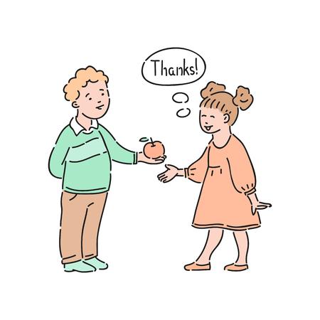 Vektor gut erzogenes Mädchen dankt dem Jungen, der ihr Apfel anbietet. Gute Manieren, Höflichkeit des weiblichen Kindes. Anstand und Urbanität des Kinderkonzepts.