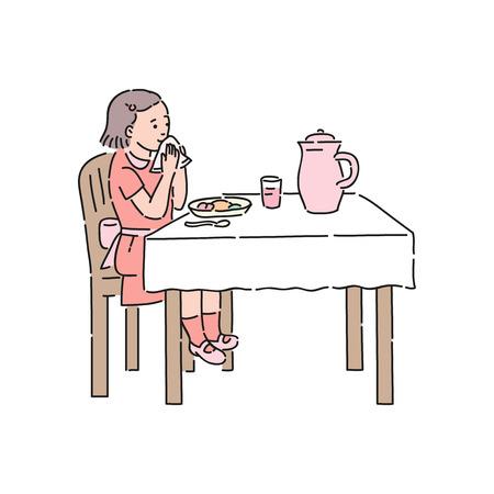 La ragazza ben educata di vettore si asciuga le labbra con il tovagliolo dopo pranzo. Buone maniere, gentilezza della ragazzina. Decenza e urbanità del concetto di bambini.