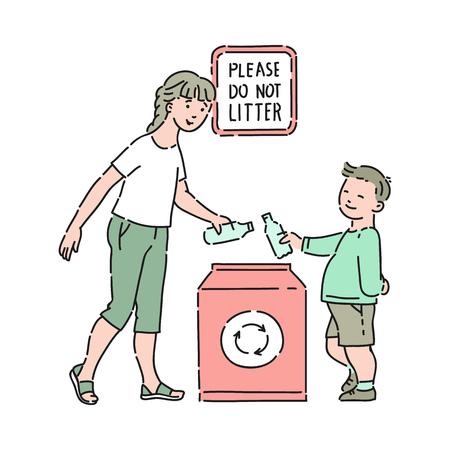 Vector il ragazzo ben educato che tira fuori la presa con la madre in un contenitore speciale per il riciclaggio con l'iscrizione per favore non sporcare. Buone maniere, gentilezza del ragazzo maschio. Decenza e urbanità dei bambini