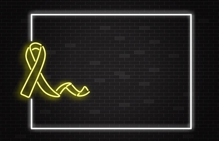 Childhood cancer horizontal banner with disease awareness symbol - yellow glowing neon ribbon on dark night brick wall background with frame and copy space in realistic vector illustration. Stock Vector - 123466038