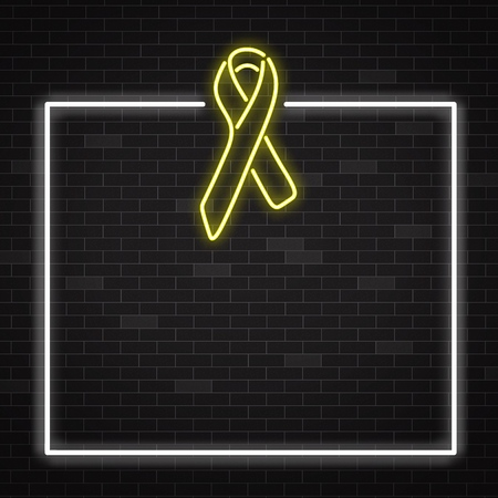 Yellow cancer awareness symbol in realistic style. Childhood cancer fighting banner with glowing neon ribbon on dark brick wall background with frame and copy space in vector illustration.