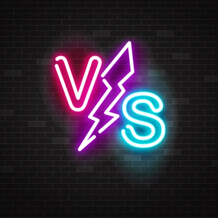 Blue and pink glowing neon symbol versus battle with lightning, vector outline illustration on black background.