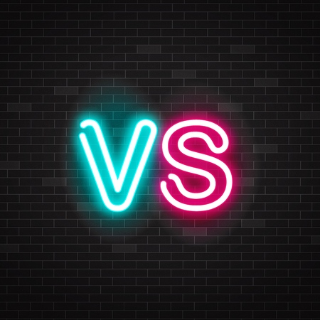 Neon symbol versus battle, outline glowing pink and blue letters vs. Sing versus battle for competition, fight, duel and game. Vector neon glowing illustration on black background for banners, logo. Stock Illustratie