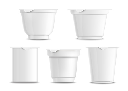 Set of empty and blank white plastic yogurt containers. Templates and mockups of realistic 3d containers for yogurt. Isolated vector illustration packaging on a white background.