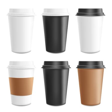 Mockup e modello realistico set 3d di carta, cartone e tazza di caffè in plastica. Bicchiere da caffè monouso in plastica e carta per bevande calde. Modello di cappuccino, caffè espresso e caffè, illustrazione vettoriale. Vettoriali