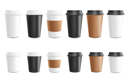 Coffee to go mockup vector illustration set - paper or plastic cups of various colors and height for cafe or shop brand identity design or promotion. Isolated 3d realistic mug for takeaway hot drink. Ilustração