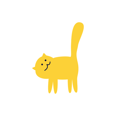 Side view of cute yellow cat stands turning its head flat cartoon style, vector illustration isolated on white background. Pet kitten standing on four paws with tail up, domestic animal Stock Illustratie