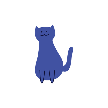 Cute blue cat sitting with tail lifted back flat cartoon style, vector illustration isolated on white background. Adorable indigo pet kitten, happy domestic animal