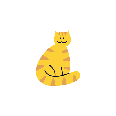 Cute tabby ginger cat sits with wrapped tail around its paws flat cartoon style, vector illustration isolated on white background. Yellow striped pet kitten, happy domestic animal