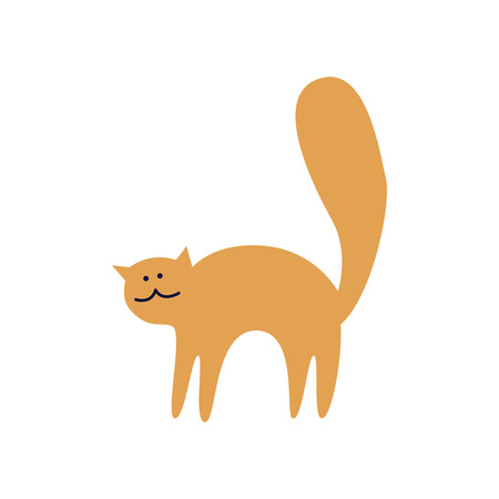 Cute ginger cat stands arched back flat cartoon style, vector illustration isolated on white background. Frightened kitten curved its spine and lifted tail up or feline animal is stretching Ilustração