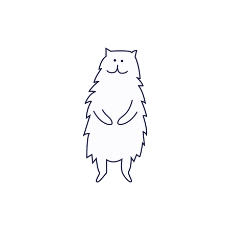 Cute cat or kitten standing on its hind legs hand drawn sketch cartoon character. Animal pet black line art vector isolated on white. Illustration
