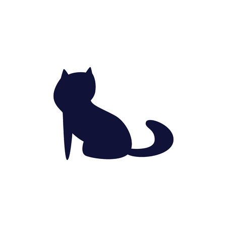 Cute cat mascot silhouette isolated dark blue icon. Kitten monochrome shadow shape flat vector illustration design isolated on white. Ilustrace