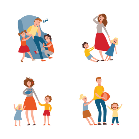 Vector parenthood problems of big family concept set. Tired, exhausted father and mother with naughty and nasty children. Mom and dad trying to handle crying sons, daughters and newborn baby Illustration