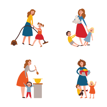 Vector parenthood problems of big family. Tired, exhausted mother with naughty and nasty children crying trying to handle kids and household chores. Mom holding dirty laundry, cooking, washing dishes
