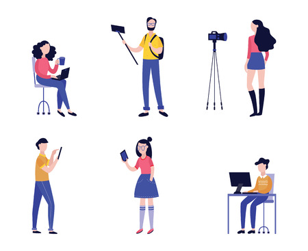 Vector illustration set of various people recording video with camera or mobile phone. Online streaming, webinar or tutorial bloggers in flat style isolated on white background. Illustration