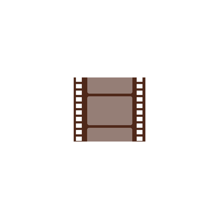 A piece of cut film string, small negative frame. Filmstrip for cinema and media, isolated vector illustration in a flat cartoon style.
