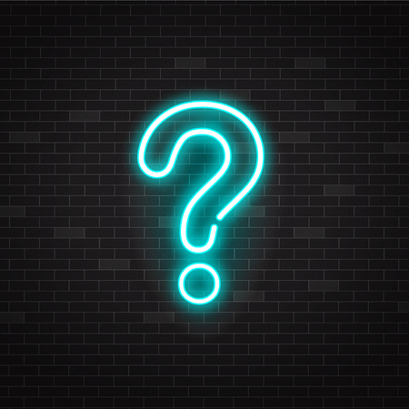 Blue glowing outline neon question mark or sign on black background, ui and ux light icon and bright symbol. Vector illustration of neon question.