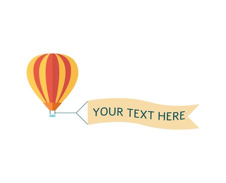 Mongolfiera colorata nel cielo con banner pubblicitario pronto per il tuo testo illustrazione vettoriale isolato su sfondo bianco. Design vintage per inviti e biglietti.