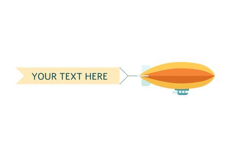 Dirigibile o zeppelin con banner a nastro pubblicitario o promozionale con spazio per testo piatto illustrazione vettoriale isolato su sfondo bianco. Simpatico messaggio airsip retrò. Vettoriali