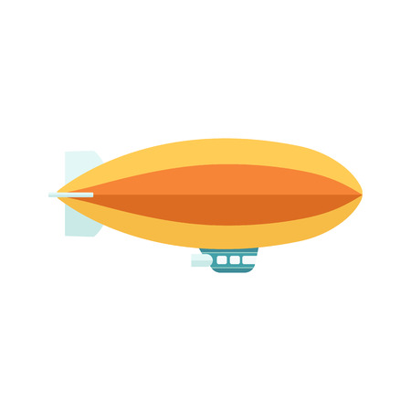 Vintage baloon with basket zeppelin aircraft in the flight. Retro air dirigible journey flat vector illustration isolated on white background. Ilustração