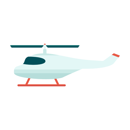 Rescue or tourist helicopter with propeller in the flight icon. Military or citizen aviation aircraft flat vector illustration isolated on white. Illustration