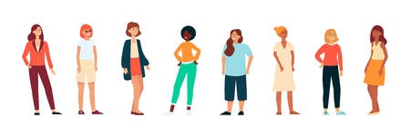 Different races women standing and laughing in modern casual cloth background. International group ethnicity diversity of people concept flat vector illustration isolated on the white background. Ilustração