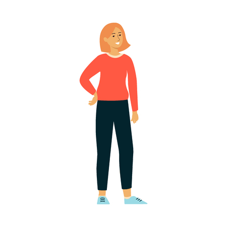Full length portrait of a confident independent smiling woman standing in free pose in casual wear and sneakers. Modern active lady vector illustration isolated on the white background. Illustration