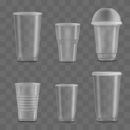 Set of empty and blank transparent disposable plastic cups. Templates and mockups of realistic 3d containers for liquid beverage and drink. Vector illustration on a transparent background.