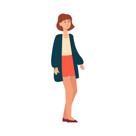 A europioid caucasian woman with fair white skin stands and smiles. Young brown haired woman with short hair in a skirt, blouse and cardigan, isolated vector female illustration in flat style.