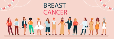 Different women of the world against breast cancer. Breast Cancer Day and supporting awareness with diverse group of woman, vector female flat illustration on pink background.