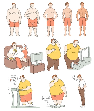 Fat person weight loss comparison, exercise and diet process drawing, fitness progress and body change through different activities, health success and slim waist - vector illustration. Illustration