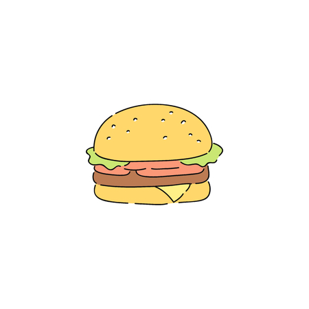 Big beef burger with vegetables, simple cartoon drawing of fast junk food snack. Hamburger with meat, bun, tomato, cheese. Flat vector illustration on white background.