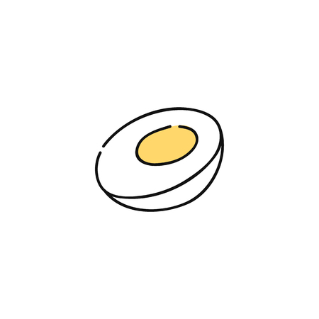 Boiled chicken egg hand-drawn icon, healthy breakfast food cut in half with whites and yolk, cute sketch of organic snack, flat vector illustration isolated on white background Stock Illustratie