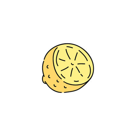 Cute isolated yellow lemon slice, fresh citrus fruit cut in half hand drawn in simple cartoon style. Sketch style drawing of healthy vegetarian food, isolated on white background, vector illustration.