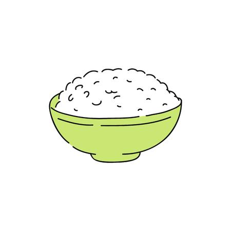 Arroz blanco cocido en un tazón verde, boceto dibujado a mano de comida asiática saludable, cena de grano saludable y comida sencilla, cocina tradicional japonesa y china. Ilustración de vector de Ivolated.