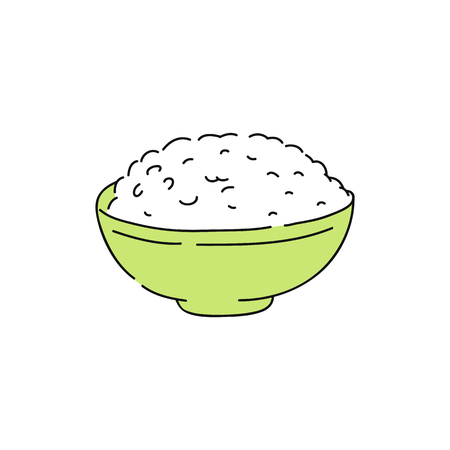 Cooked white rice in green bowl, hand drawn sketch of healthy asian food, healthy grain dinner and food for plain meal, traditional japanese, chinese cuisine. Ivolated vector illustration.