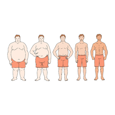 Fat loss diet progress from overweight to thin, obese person change into healthy slim weight over time. Comparison of line row of male people in different stages, vector illustration. Иллюстрация