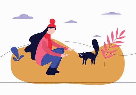 Frau hockte im Freien mit Anrufgeste zur Katze gewölbt zurück flacher Karikaturstil, Vektorillustration lokalisiert auf weißem Hintergrund. Sitzende Frau im Park kümmert sich um verängstigte streunende Katze