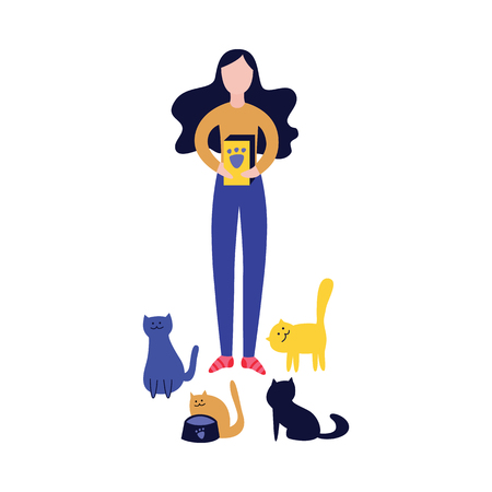 Woman standing with cat food box and feeding a lot of cats flat cartoon style, vector illustration isolated on white background. Cat lady and eating time for her pet animals