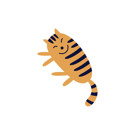 Cute smiling tabby red cat lying on its side flat cartoon style, vector illustration isolated on white background. Happy striped ginger feline pet is sleeping with smile on its face Illustration
