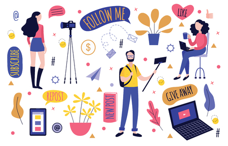 Bloggers recording video with camera or mobile phone and various decorative elements and templates for blogging - people streaming or leading online tutorial in flat isolated vector illustration. Illustration