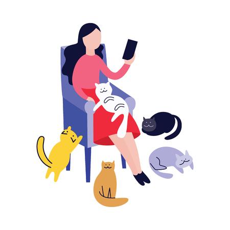 Femme assise dans un fauteuil et lisant entourée de chats style cartoon plat, illustration vectorielle isolée sur fond blanc. Animaux de compagnie à proximité dame de chat se relaxant dans une chaise et tenant un livre ou un gadget