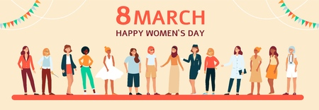 Horizontal female flat banner with text 8 march, Happy Womens day. Diverse group of women and girls with different age, clothes and race, vector illustration.