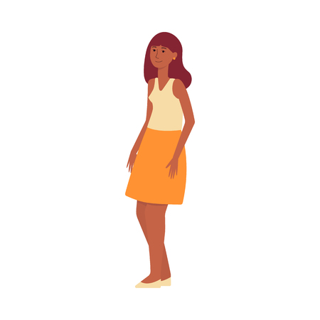 A brown haired, dark skinned oriental woman, mulatto is standing and smiling. Woman with brown hair in a skirt and tank top. Isolated vector female illustration in flat style on a white background. Ilustração