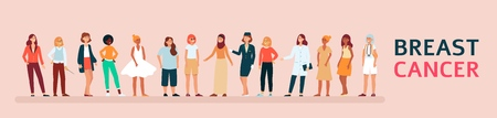 Diverse group of woman supporting breast cancer awareness, flat female vector illustration. Illusztráció