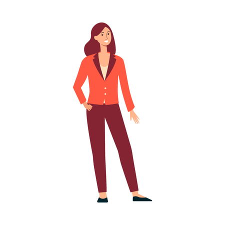 Caucasian woman with fair skin stands and smiles. Young brown haired woman with long hair in a suit. Isolated vector female illustration in flat style on a white background. Çizim
