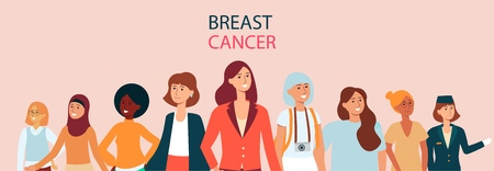 Horizontal female flat banner with text breast cancer. Diverse group of women with different age, clothes and race supporting breast cancer awareness. Vector illustration on pink background.